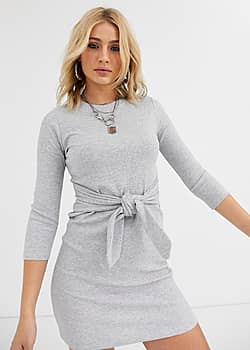 tie front ribbed metallic thread dress in grey