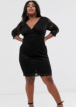 wrap front long sleeve lace pencil dress in black