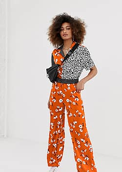 mixed print wide leg trouser