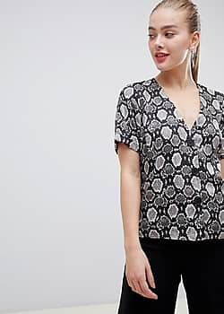 boxy top with contrast buttons in snake animal print