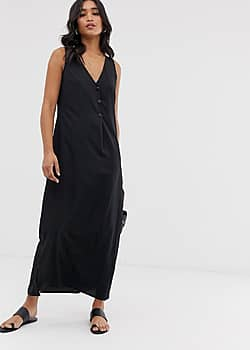 maxi dress with button detail