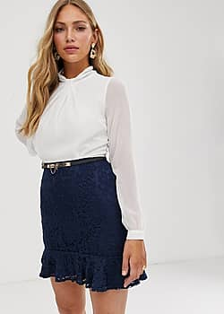 2-in-1 dress with lace skirt and flippy hem in white and navy