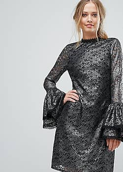 Metallic Cutwork Lace Swing Dress With Fluted Sleeve Detail