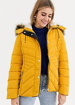 fitted puffer jacket in yellow