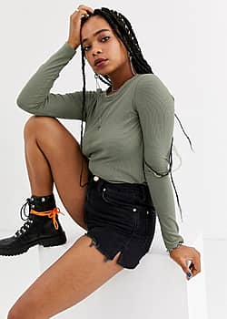 ribbed long sleeved top in khaki