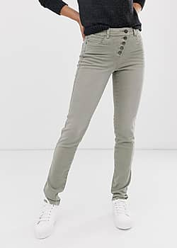 exposed 5 button skinny jean in khaki