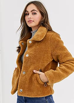 teddy jacket with collar in camel
