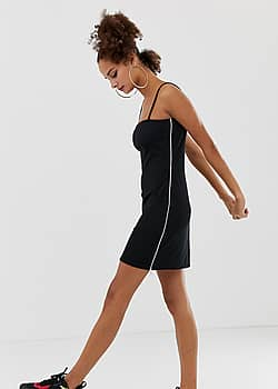 ribbed bodycon cami dress with side zip