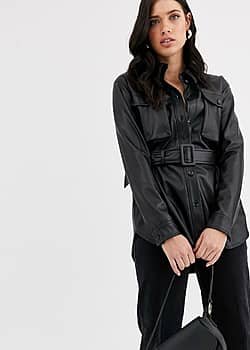 leather look jacket with self belt
