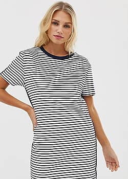 stripe jersey t-shirt dress in white and navy