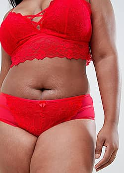 New Look Curve lace brazilian brief in red