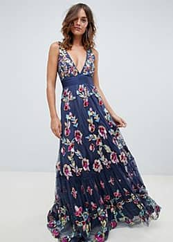 embellished prom maxi dress with plunge front in multi
