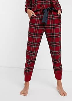 Abercrombie & Fitch classic flannel pyjama jogger co-ord-Red