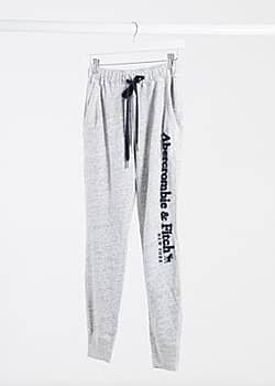 Abercrombie & Fitch classic side logo jogger in grey
