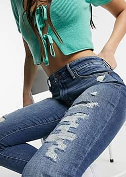Abercrombie & Fitch distressed skinny jeans in mid blue