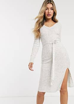 knitted midi dress with tie belt-White