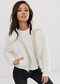 Abercrombie & Fitch white furry jacket