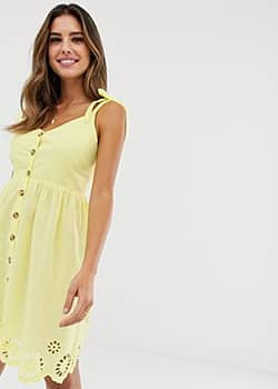 Accessorize Sarah strappy button beach dress in yellow