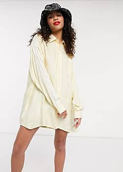 Adidas adicolor long sleeve satin look button up shirt in yellow