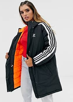 three stripe parka in black