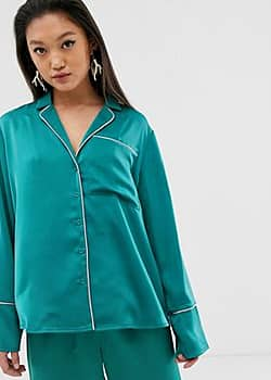 pyjama top with contrast piping-Green