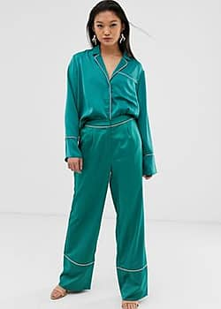 pyjama trousers with contrast piping-Green