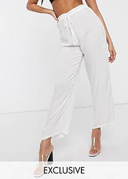 Exclusive drawstring waist beach trouser in white