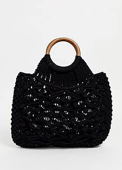 Cotton Macrame Tote Bag-Black