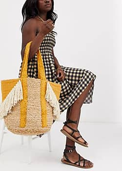 Fringe Straw Beach Bag-Yellow