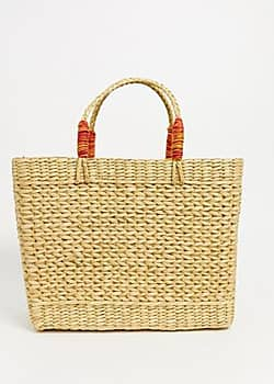 Wicker Beach Tote-White
