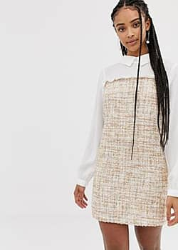 Amy Lynn long sleeve contrast shirt dress-Cream