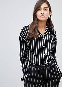 tie front stripped top-Multi