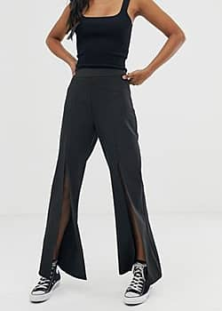 Amy Lynn wide leg trousers-Black