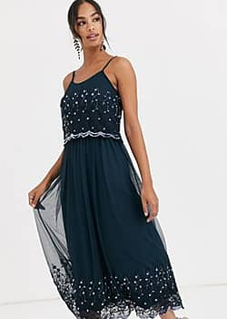 Angel Eye embellished cami maxi dress-Navy