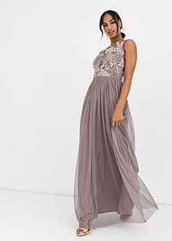 Angel Eye embellished maxi dress-Purple