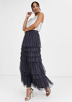 tiered tulle maxi skirt-Grey