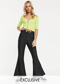 Another Reason 90's flare trousers in pin stripe with chain detail waist-Multi