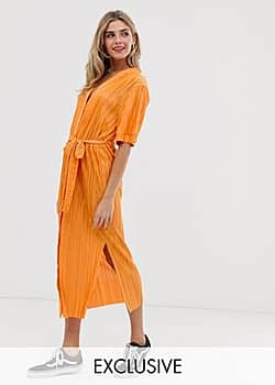 Another Reason belted midi shirt dress with side splits-Orange