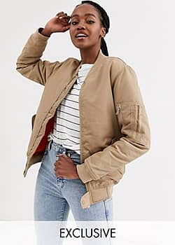Another Reason boyfriend style bomber jacket with contrast lining-Cream