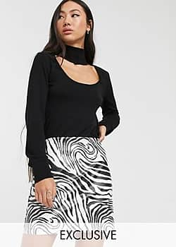 Another Reason faux leather mini skirt in zebra print-Multi