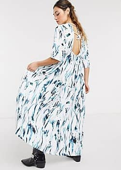 Another Reason maxi smock dress in brush stroke print-White