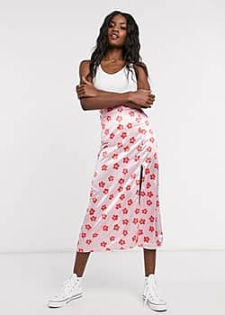 Another Reason midi skirt with split in floral print-Pink