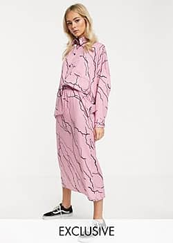 Another Reason midi skirt with toggle waist in lightening print co-ord-Pink
