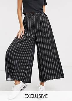 Another Reason relaxed pleated trouses in repeat text print-Black