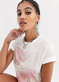 Another Reason relaxed t-shirt with marble graphic-Cream