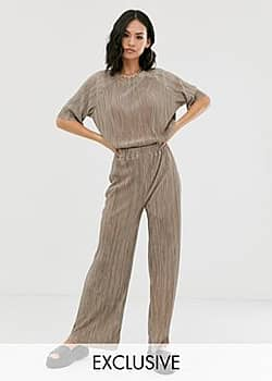 Another Reason relaxed trousers in plisse co-ord-Beige