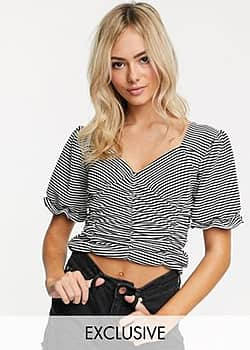 Another Reason ruched front crop top with puff sleeves in stripe-Black