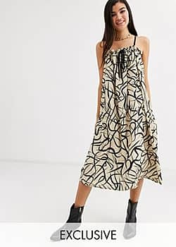 Another Reason volume midi dress with drawstring detail in abstract print-Beige