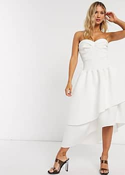 bandeau cup detail midi prom dress with layered skirt in ivory-Cream