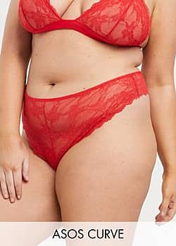 ASOS DESIGN Curve Eliza lace thong-Red